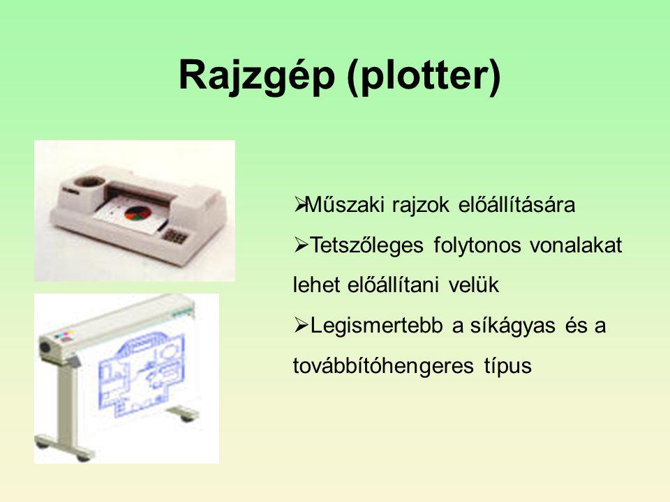 Rajzgép (plotter)  Műszaki rajzok előállítására  Tetszőleges folytonos vonalakat lehet előállítani velük  Legismertebb a síkágyas és a továbbítóhengeres típus