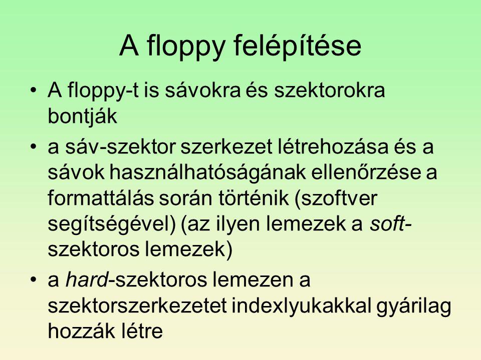 A floppy felépítése •A floppy-t is sávokra és szektorokra bontják •a sáv-szektor szerkezet létrehozása és a sávok használhatóságának ellenőrzése a for
