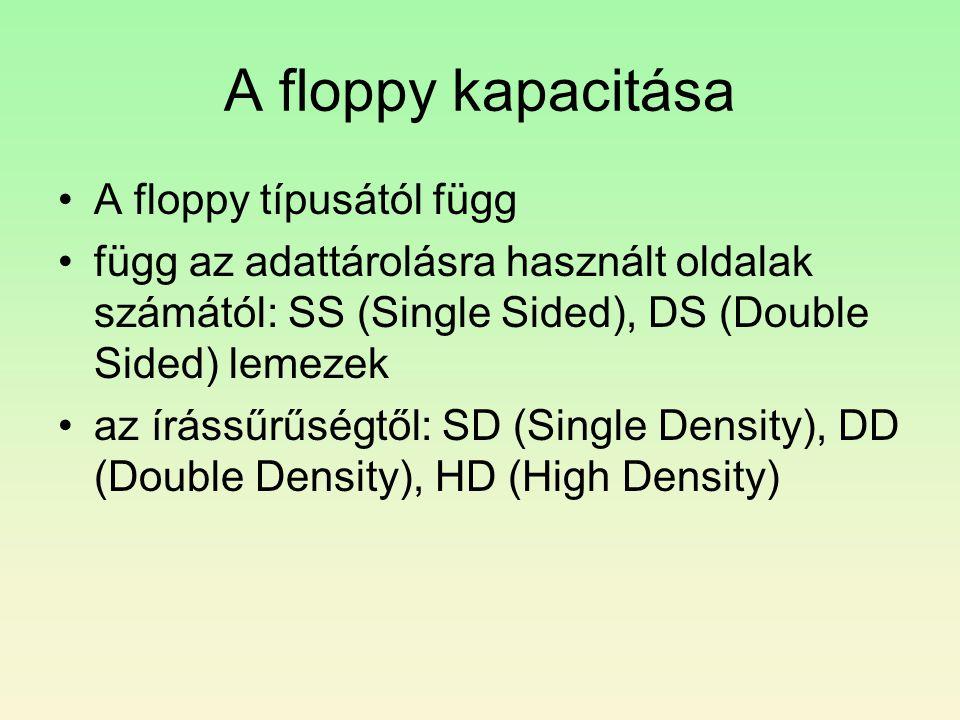 A floppy kapacitása •A floppy típusától függ •függ az adattárolásra használt oldalak számától: SS (Single Sided), DS (Double Sided) lemezek •az írássűrűségtől: SD (Single Density), DD (Double Density), HD (High Density)
