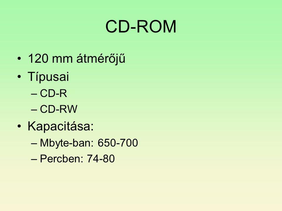 CD-ROM •120 mm átmérőjű •Típusai –CD-R –CD-RW •Kapacitása: –Mbyte-ban: 650-700 –Percben: 74-80