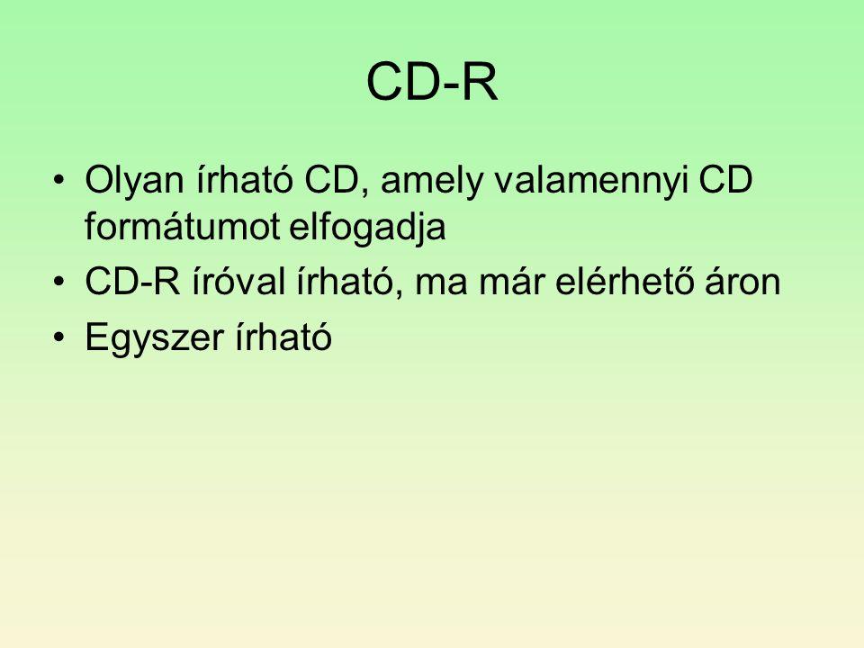 CD-R •Olyan írható CD, amely valamennyi CD formátumot elfogadja •CD-R íróval írható, ma már elérhető áron •Egyszer írható