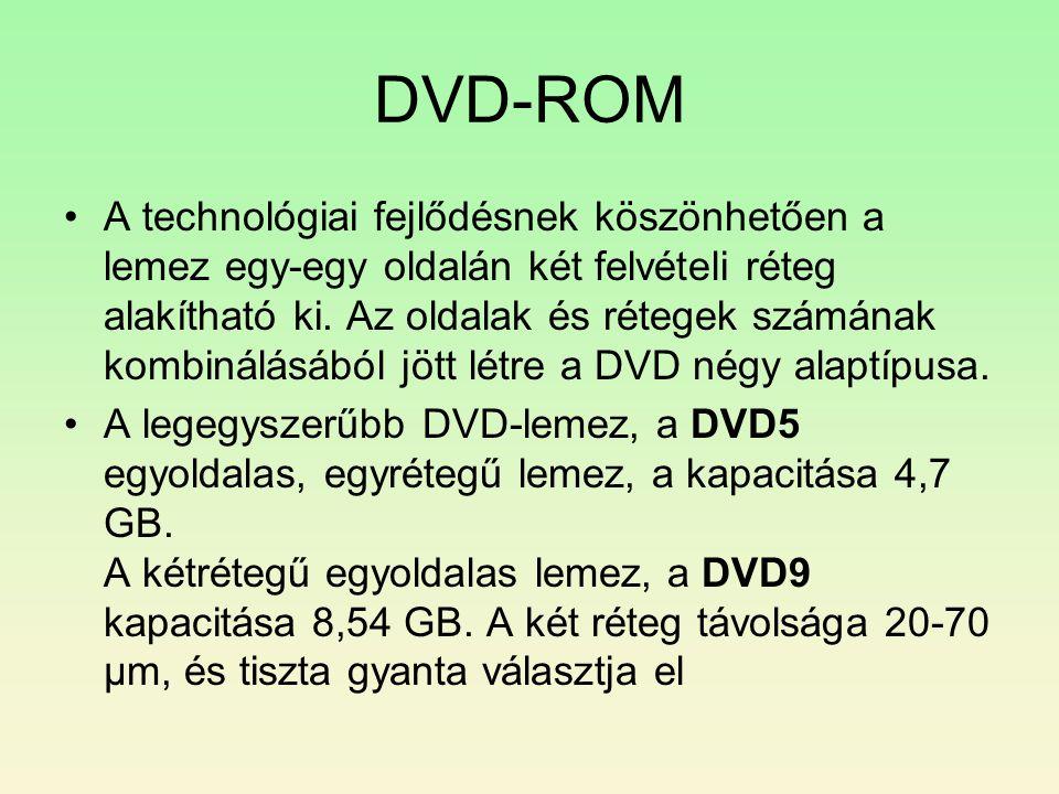 DVD-ROM •A technológiai fejlődésnek köszönhetően a lemez egy-egy oldalán két felvételi réteg alakítható ki. Az oldalak és rétegek számának kombinálásá