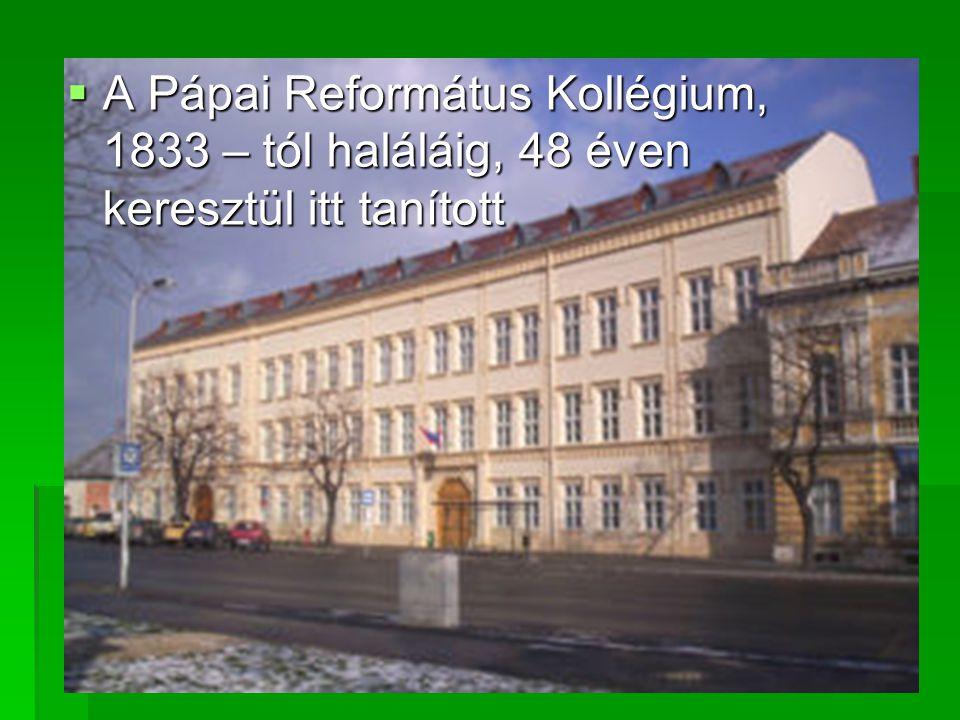  A Pápai Református Kollégium, 1833 – tól haláláig, 48 éven keresztül itt tanított