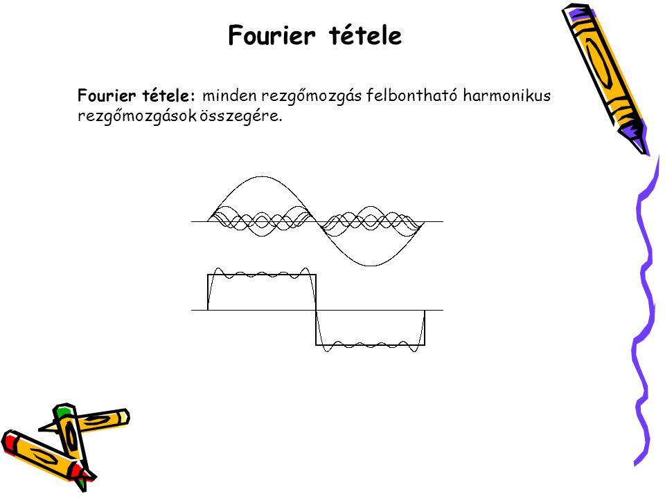 Fourier tétele Fourier tétele: minden rezgőmozgás felbontható harmonikus rezgőmozgások összegére.