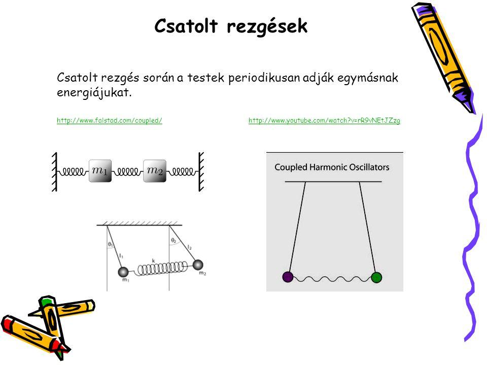 Csatolt rezgések Csatolt rezgés során a testek periodikusan adják egymásnak energiájukat. http://www.falstad.com/coupled/http://www.youtube.com/watch?