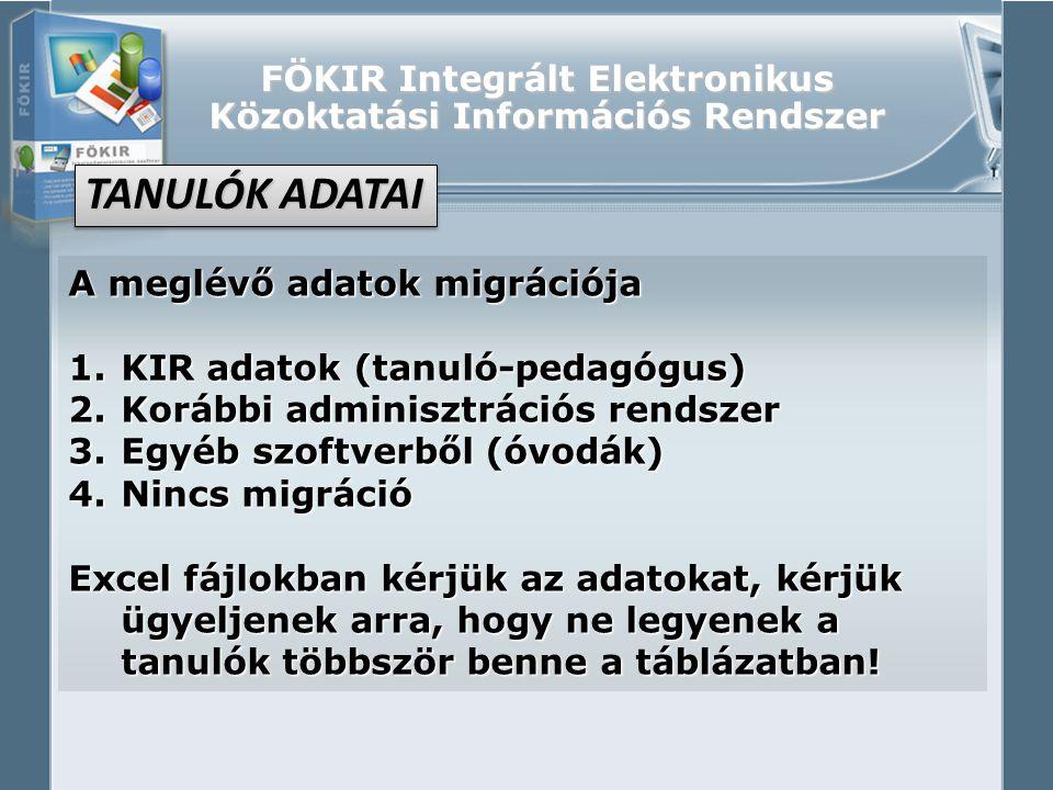 FÖKIR Integrált Elektronikus Közoktatási Információs Rendszer A meglévő adatok migrációja 1.KIR adatok (tanuló-pedagógus) 2.Korábbi adminisztrációs re