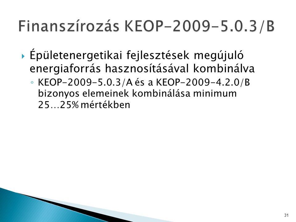  Épületenergetikai fejlesztések megújuló energiaforrás hasznosításával kombinálva ◦ KEOP-2009-5.0.3/A és a KEOP-2009-4.2.0/B bizonyos elemeinek kombi