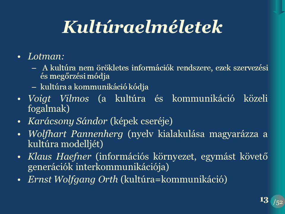 /52 13 Kultúraelméletek •Lotman: – A kultúra nem örökletes információk rendszere, ezek szervezési és megőrzési módja –kultúra a kommunikáció kódja •Voigt Vilmos (a kultúra és kommunikáció közeli fogalmak) •Karácsony Sándor (képek cseréje) •Wolfhart Pannenherg (nyelv kialakulása magyarázza a kultúra modelljét) •Klaus Haefner (információs környezet, egymást követő generációk interkommunikációja) •Ernst Wolfgang Orth (kultúra=kommunikáció)