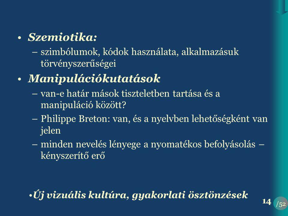/52 14 •Szemiotika: –szimbólumok, kódok használata, alkalmazásuk törvényszerűségei •Manipulációkutatások –van-e határ mások tiszteletben tartása és a manipuláció között.