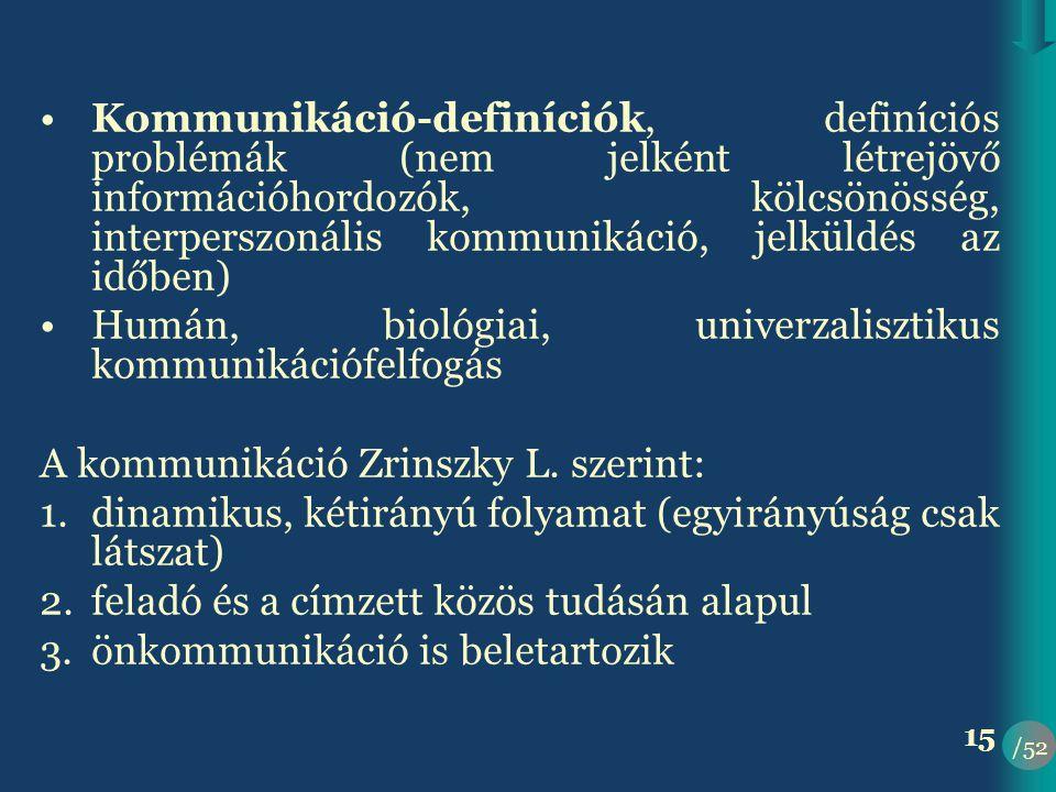 /52 15 •Kommunikáció-definíciók, definíciós problémák (nem jelként létrejövő információhordozók, kölcsönösség, interperszonális kommunikáció, jelküldés az időben) •Humán, biológiai, univerzalisztikus kommunikációfelfogás A kommunikáció Zrinszky L.