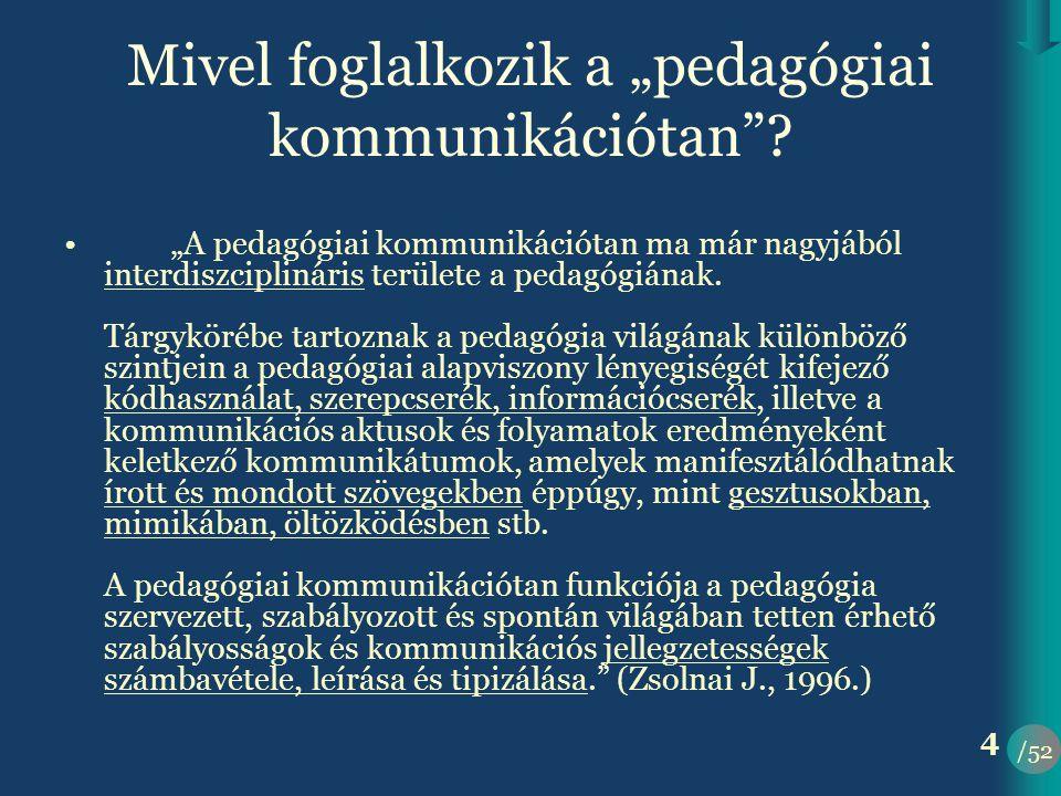 /52 25 A tanári beszéd •két rossz véglet: –túlzott konvencionalizmus –szabadosság •csoportnagyság és a csoporttagok ismertsége alapján létrejövő stílussajátosságok •törekvés az egyértelműségre •köznyelv-tudományos stílus •megértés, másképp értés, félreértés: előzetes tudás szerepe