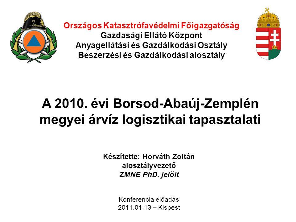 Országos Katasztrófavédelmi Főigazgatóság Gazdasági Ellátó Központ Anyagellátási és Gazdálkodási Osztály Beszerzési és Gazdálkodási alosztály Készítet