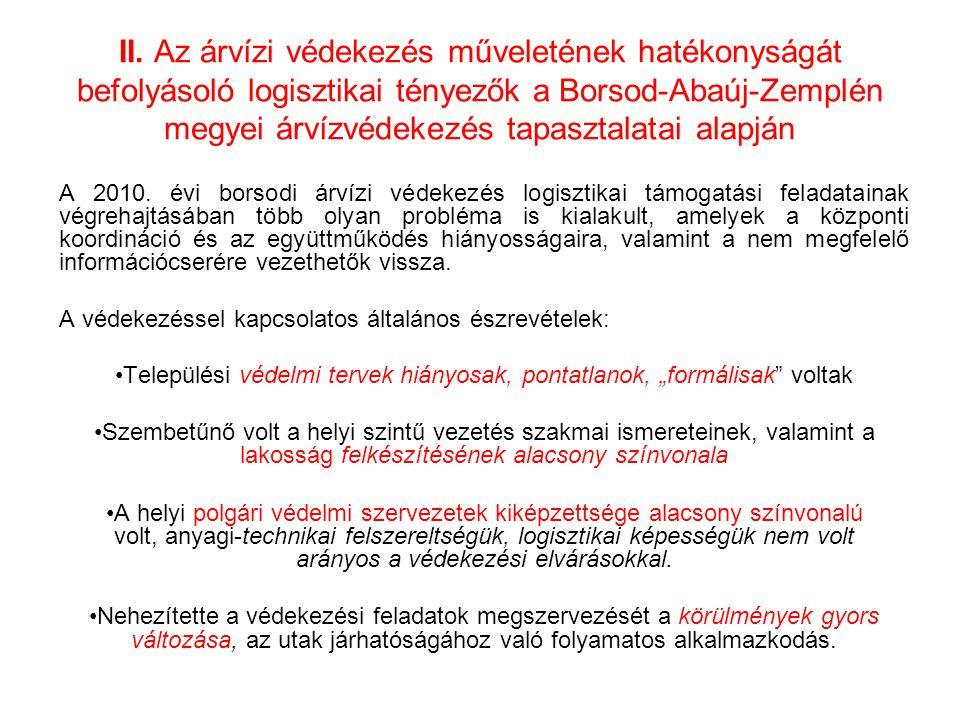 II. Az árvízi védekezés műveletének hatékonyságát befolyásoló logisztikai tényezők a Borsod-Abaúj-Zemplén megyei árvízvédekezés tapasztalatai alapján