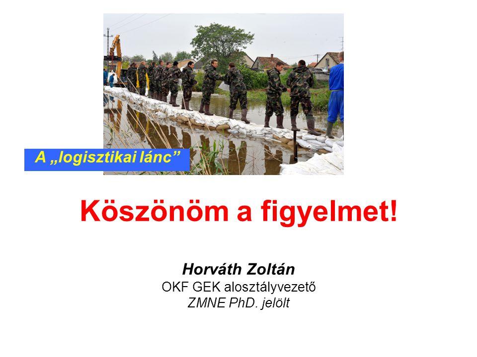 """Köszönöm a figyelmet! Horváth Zoltán OKF GEK alosztályvezető ZMNE PhD. jelölt A """"logisztikai lánc"""""""