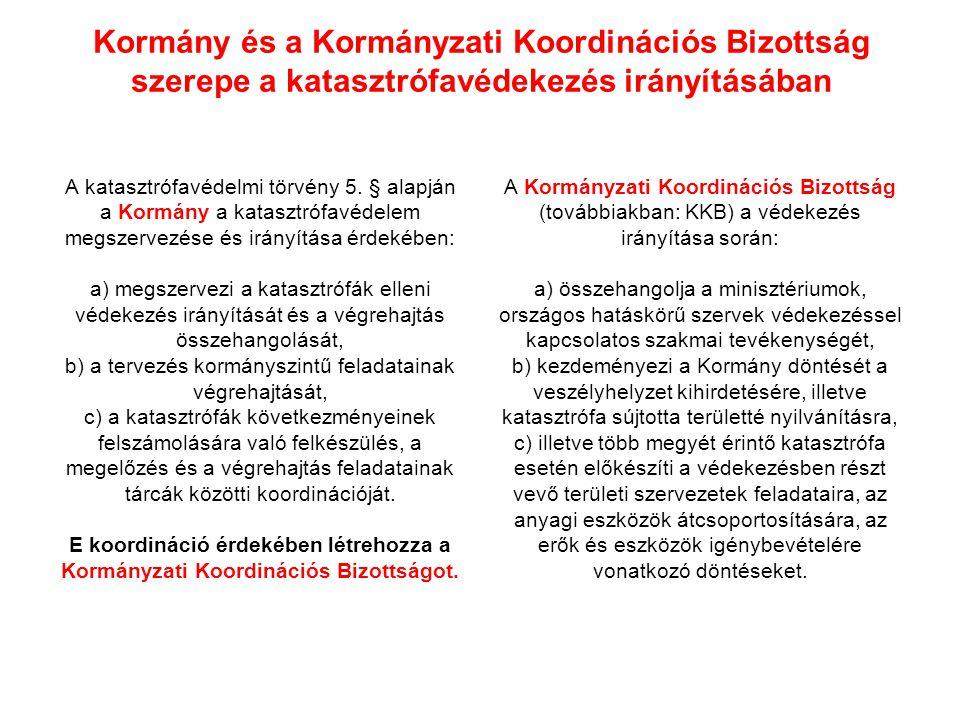 Kormány és a Kormányzati Koordinációs Bizottság szerepe a katasztrófavédekezés irányításában A katasztrófavédelmi törvény 5. § alapján a Kormány a kat