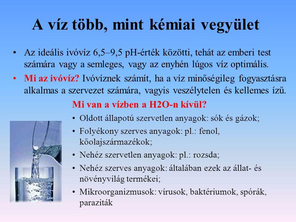 Van a természetben tiszta víz.•A természetben tiszta formában a H2O vegyület nem létezik.