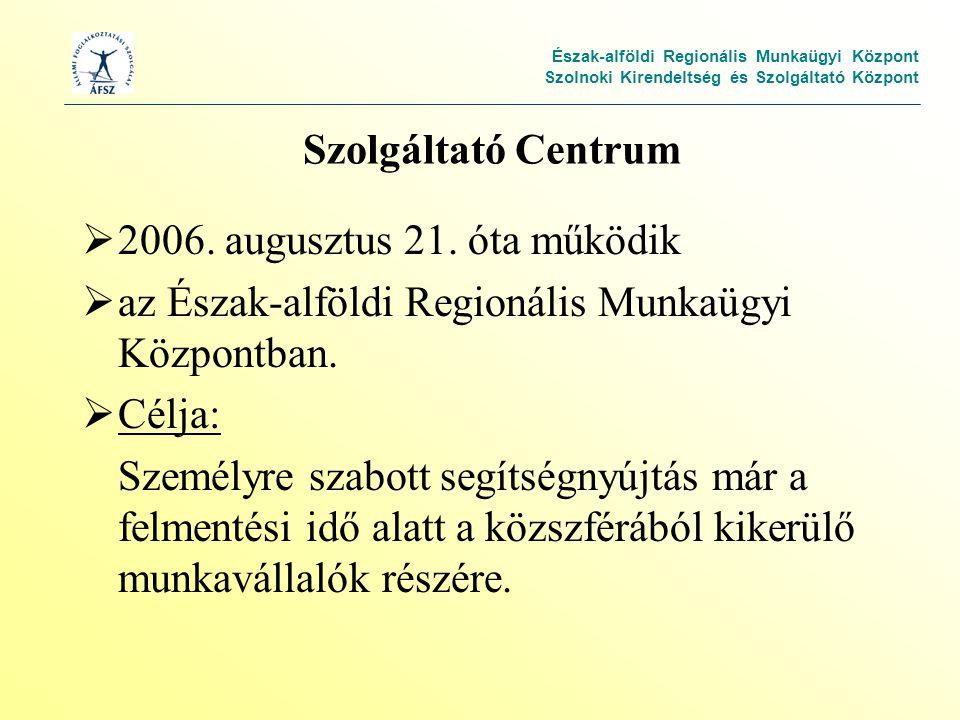 Észak-alföldi Regionális Munkaügyi Központ Szolnoki Kirendeltség és Szolgáltató Központ Szolgáltató Centrum  2006.
