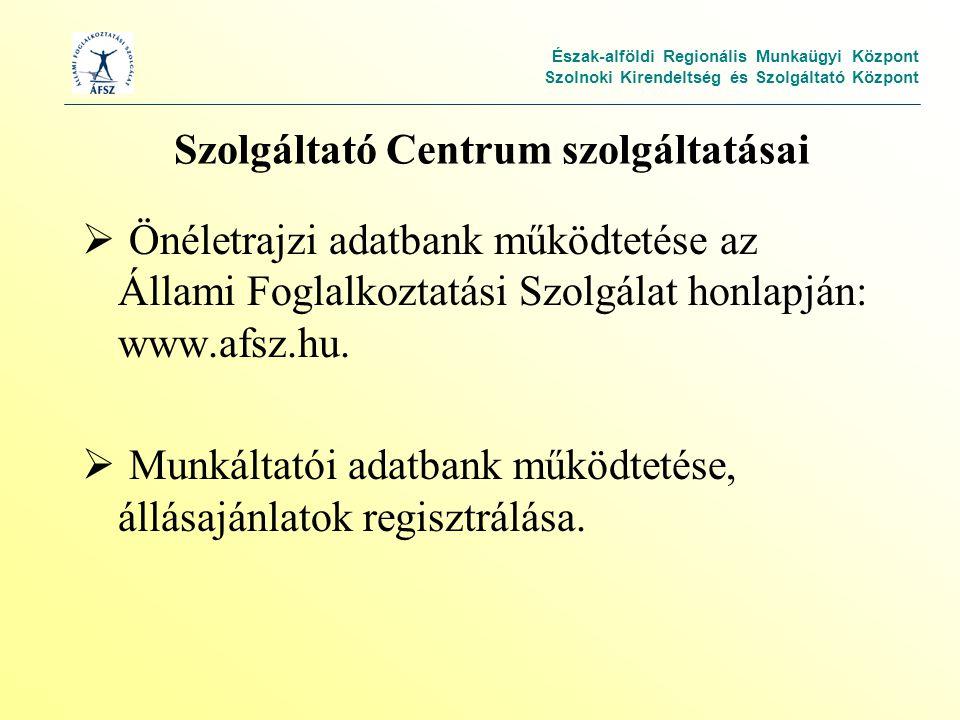 Észak-alföldi Regionális Munkaügyi Központ Szolnoki Kirendeltség és Szolgáltató Központ Szolgáltató Centrum szolgáltatásai  Önéletrajzi adatbank működtetése az Állami Foglalkoztatási Szolgálat honlapján: www.afsz.hu.