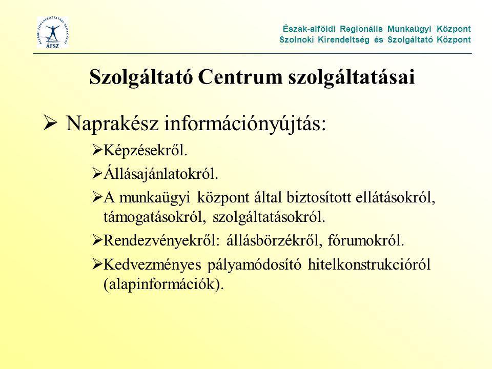 Észak-alföldi Regionális Munkaügyi Központ Szolnoki Kirendeltség és Szolgáltató Központ Szolgáltató Centrum szolgáltatásai  Naprakész információnyújtás:  Képzésekről.