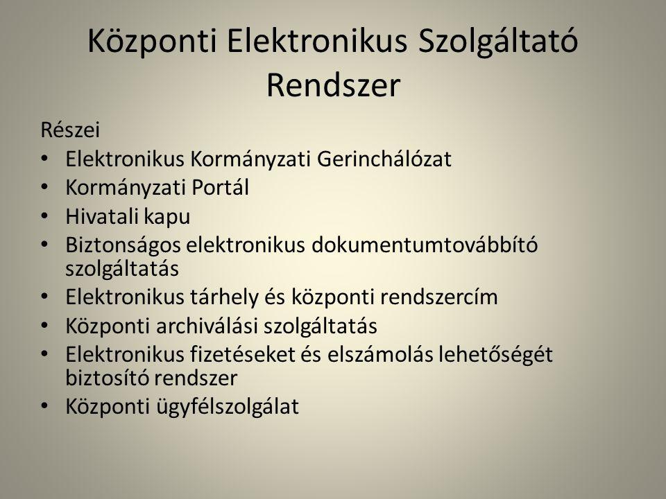 Központi Elektronikus Szolgáltató Rendszer Részei • Elektronikus Kormányzati Gerinchálózat • Kormányzati Portál • Hivatali kapu • Biztonságos elektron