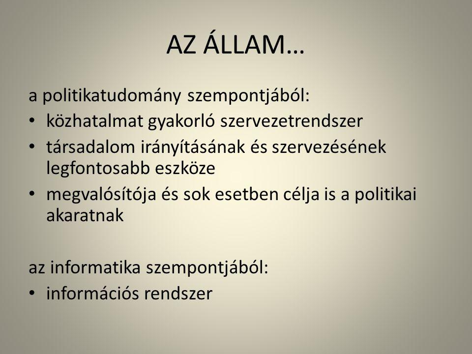 AZ ÁLLAM… a politikatudomány szempontjából: • közhatalmat gyakorló szervezetrendszer • társadalom irányításának és szervezésének legfontosabb eszköze