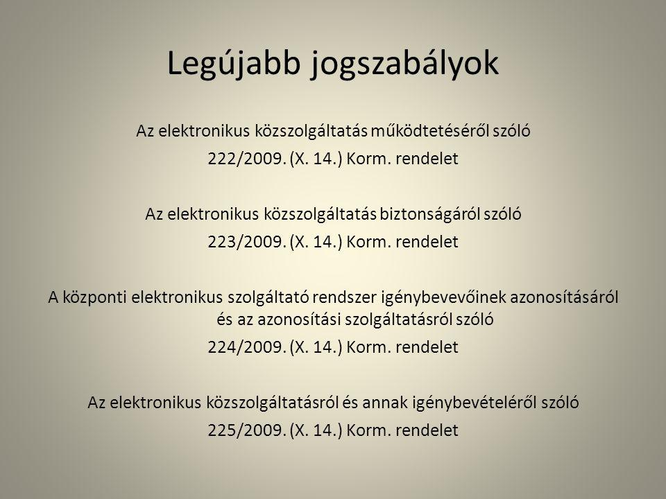 Legújabb jogszabályok Az elektronikus közszolgáltatás működtetéséről szóló 222/2009. (X. 14.) Korm. rendelet Az elektronikus közszolgáltatás biztonság