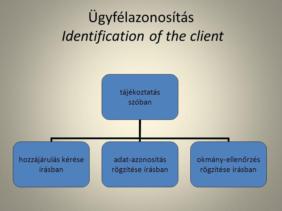 Ügyfélazonosítás Identification of the client tájékoztatás szóban hozzájárulás kérése írásban adat-azonosítás rögzítése írásban okmány- ellenőrzés rögzítése írásban