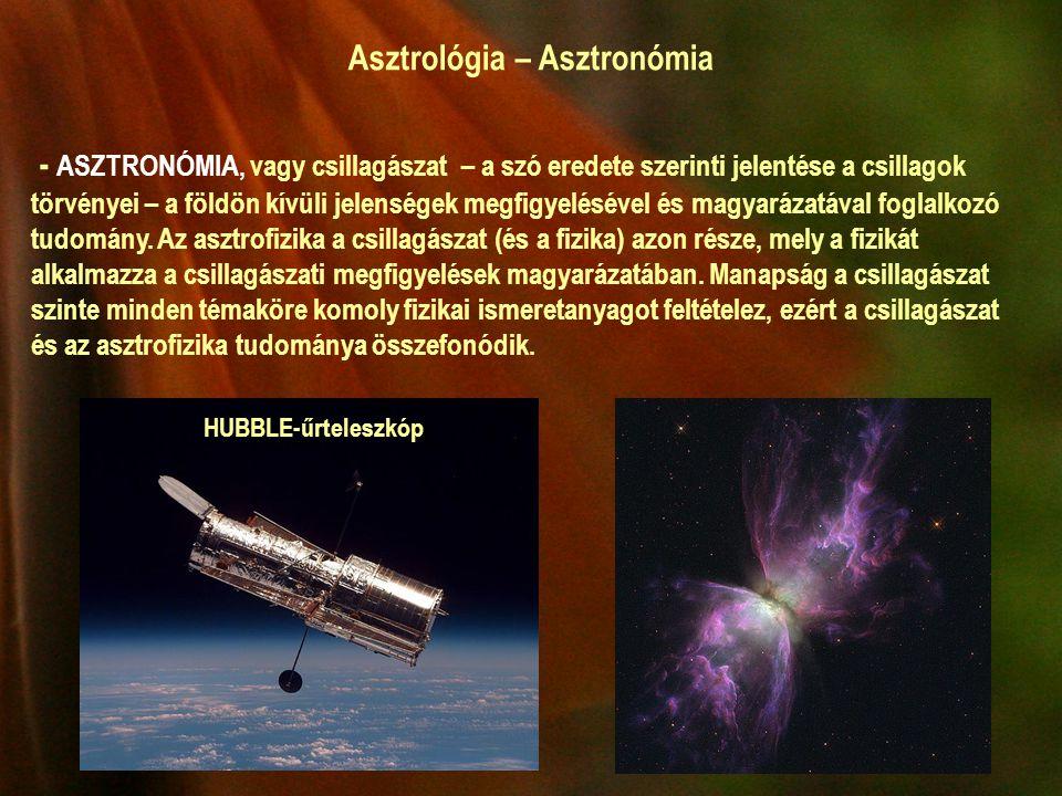 Asztrológia – Asztronómia - ASZTRONÓMIA, vagy csillagászat – a szó eredete szerinti jelentése a csillagok törvényei – a földön kívüli jelenségek megfigyelésével és magyarázatával foglalkozó tudomány.