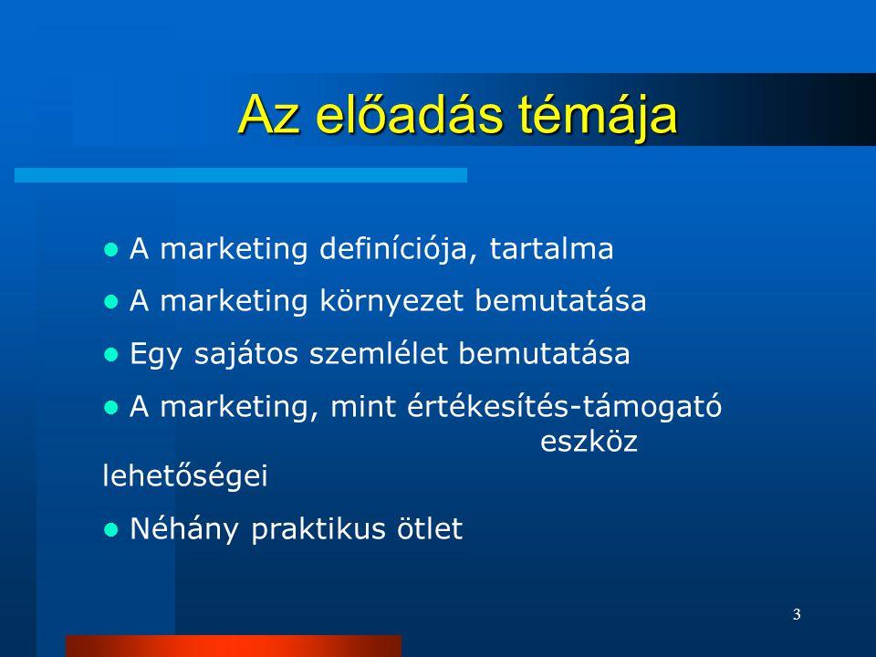 3 Az előadás témája  A marketing definíciója, tartalma  A marketing környezet bemutatása  Egy sajátos szemlélet bemutatása  A marketing, mint értékesítés-támogató eszköz lehetőségei  Néhány praktikus ötlet