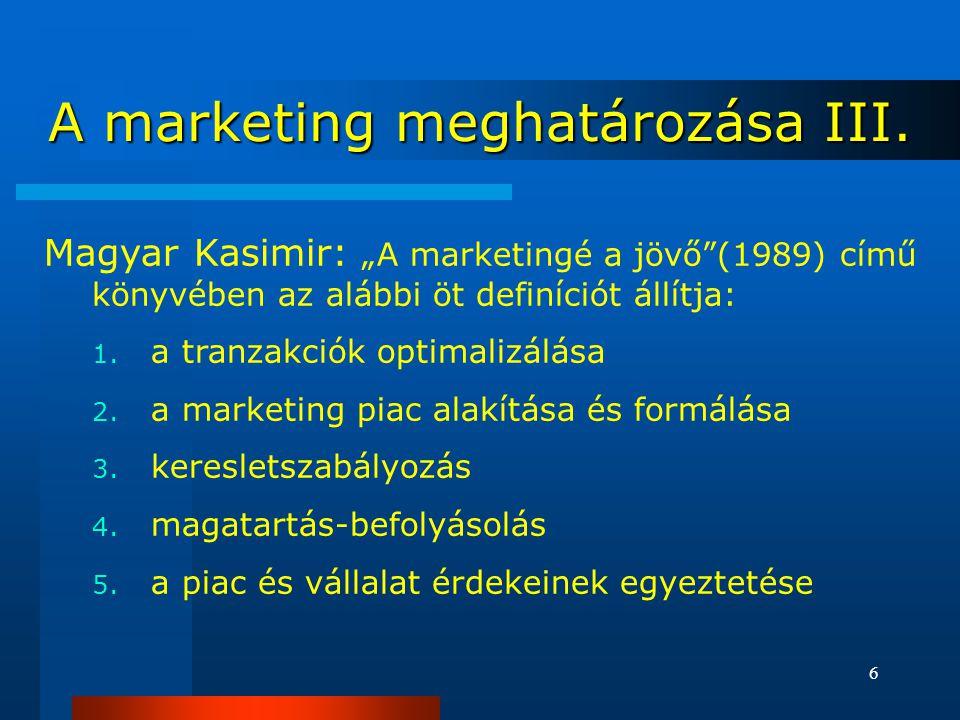 """6 Magyar Kasimir: """"A marketingé a jövő (1989) című könyvében az alábbi öt definíciót állítja: 1."""