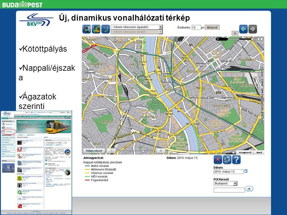 Új, dinamikus vonalhálózati térkép  Kötöttpályás  Nappali/éjszak a  Ágazatok szerinti