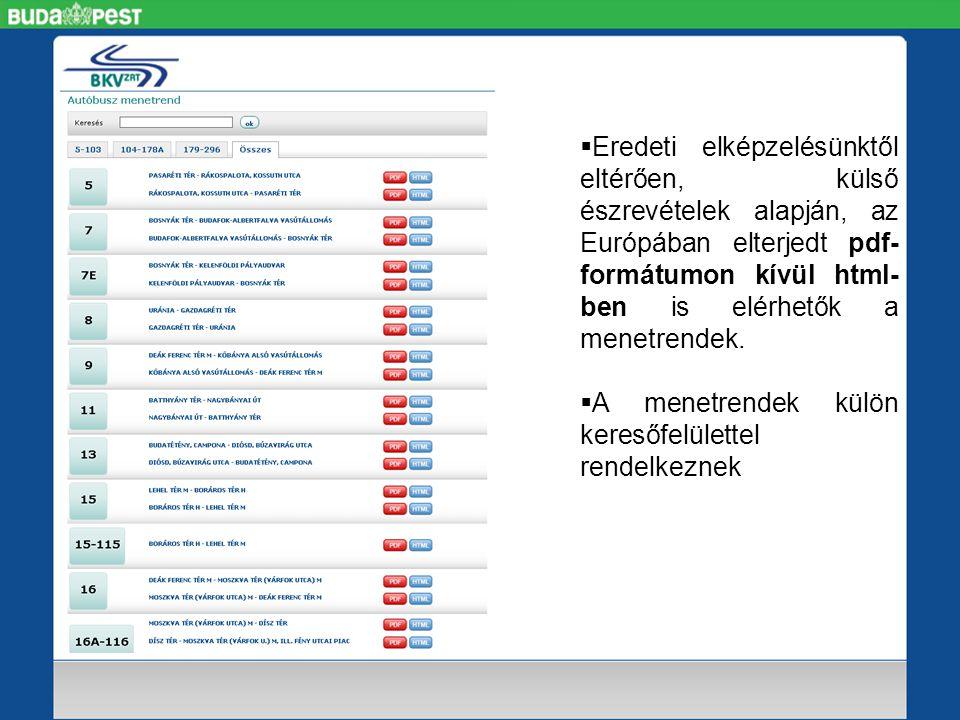  Eredeti elképzelésünktől eltérően, külső észrevételek alapján, az Európában elterjedt pdf- formátumon kívül html- ben is elérhetők a menetrendek.