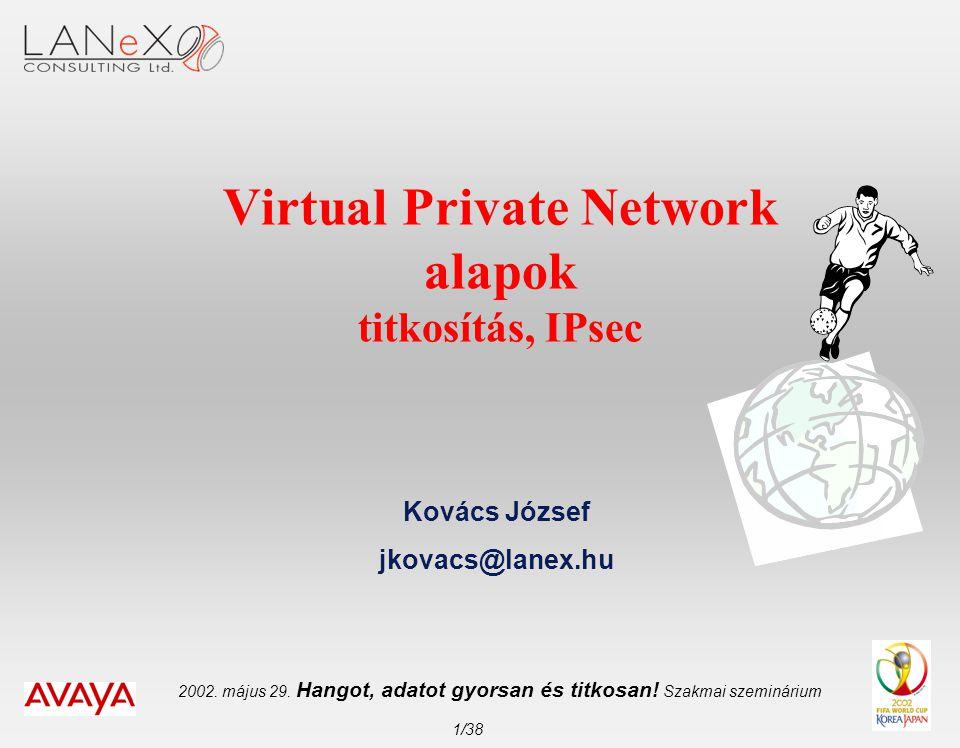 2002. május 29. Hangot, adatot gyorsan és titkosan! Szakmai szeminárium 1/38 Virtual Private Network alapok titkosítás, IPsec Kovács József jkovacs@la