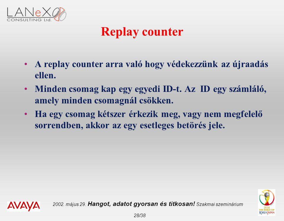 2002. május 29. Hangot, adatot gyorsan és titkosan! Szakmai szeminárium 28/38 Replay counter •A replay counter arra való hogy védekezzünk az újraadás