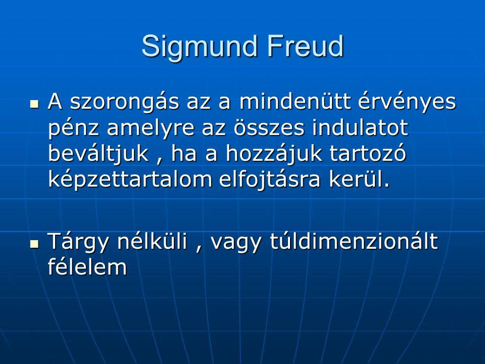 Sigmund Freud  A szorongás az a mindenütt érvényes pénz amelyre az összes indulatot beváltjuk, ha a hozzájuk tartozó képzettartalom elfojtásra kerül.