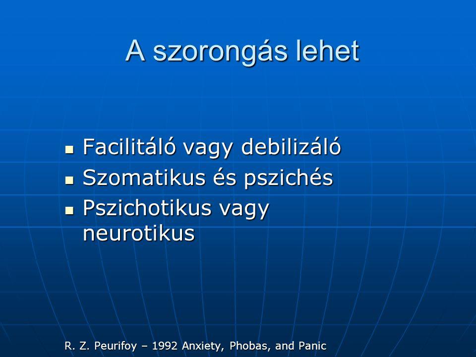 A szorongás lehet  Facilitáló vagy debilizáló  Szomatikus és pszichés  Pszichotikus vagy neurotikus R.