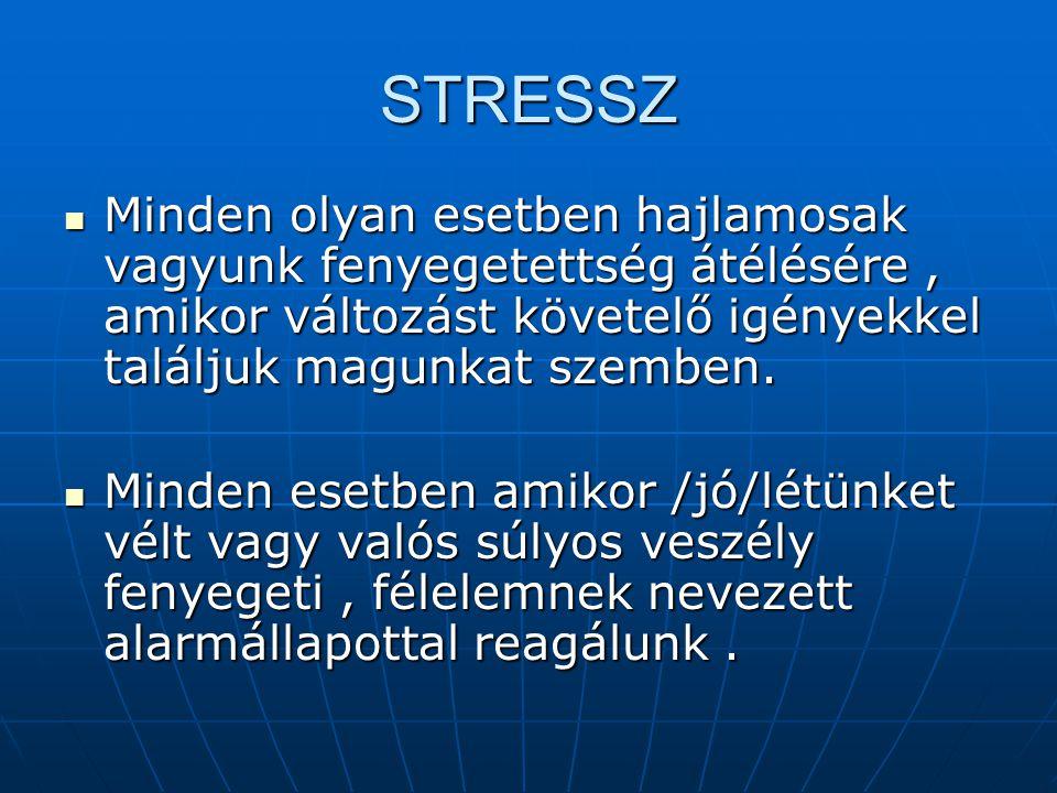 Megküzdés  Felkészülés a stresszor fogadására  Stresszorral való szembenézés  Öninstrukciós tréning  Stresszorral való megbirkózás  Lehengerléstől való félelem legyőzése  Megerősítő énállítások