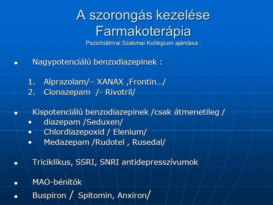 A szorongás kezelése Farmakoterápia Pszichiátrirai Szakmai Kollégium ajánlása :  Nagypotenciálú benzodiazepinek : 1.Alprazolam/– XANAX,Frontin…/ 2.Clonazepam /- Rivotril/  Kispotenciálú benzodiazepinek /csak átmenetileg / •diazepam /Seduxen/ •Chlordiazepoxid / Elenium/ •Medazepam /Rudotel, Rusedal/  Triciklikus, SSRI, SNRI antidepresszívumok  MAO-bénítók  Buspiron / Spitomin, Anxiron /