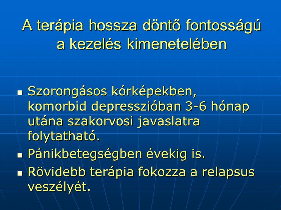 A terápia hossza döntő fontosságú a kezelés kimenetelében  Szorongásos kórképekben, komorbid depresszióban 3-6 hónap utána szakorvosi javaslatra folytatható.