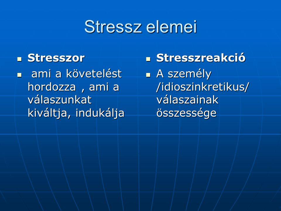 Stressz elemei  Stresszor  ami a követelést hordozza, ami a válaszunkat kiváltja, indukálja  Stresszreakció  A személy /idioszinkretikus/ válaszainak összessége
