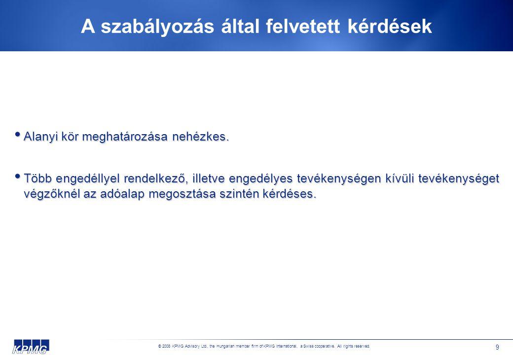 © 2008 KPMG Advisory Ltd., the Hungarian member firm of KPMG International, a Swiss cooperative. All rights reserved. 9 A szabályozás által felvetett