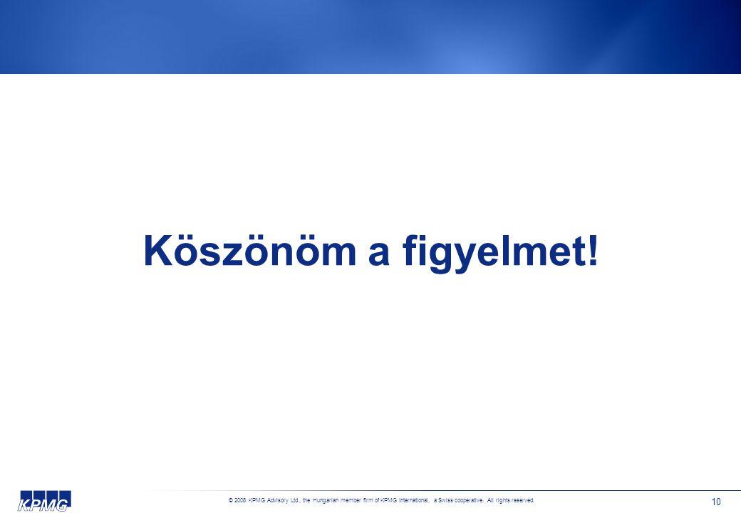© 2008 KPMG Advisory Ltd., the Hungarian member firm of KPMG International, a Swiss cooperative. All rights reserved. 10 Köszönöm a figyelmet!