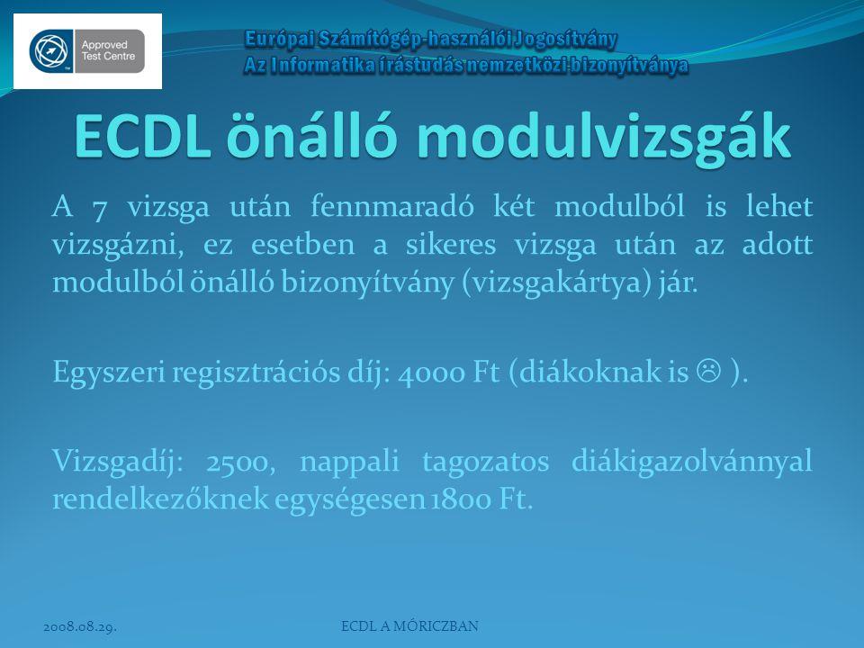ECDL önálló modulvizsgák A 7 vizsga után fennmaradó két modulból is lehet vizsgázni, ez esetben a sikeres vizsga után az adott modulból önálló bizonyí