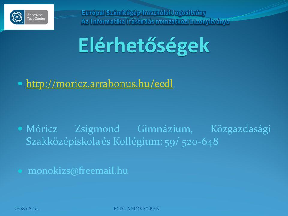 Elérhetőségek  http://moricz.arrabonus.hu/ecdl http://moricz.arrabonus.hu/ecdl  Móricz Zsigmond Gimnázium, Közgazdasági Szakközépiskola és Kollégium