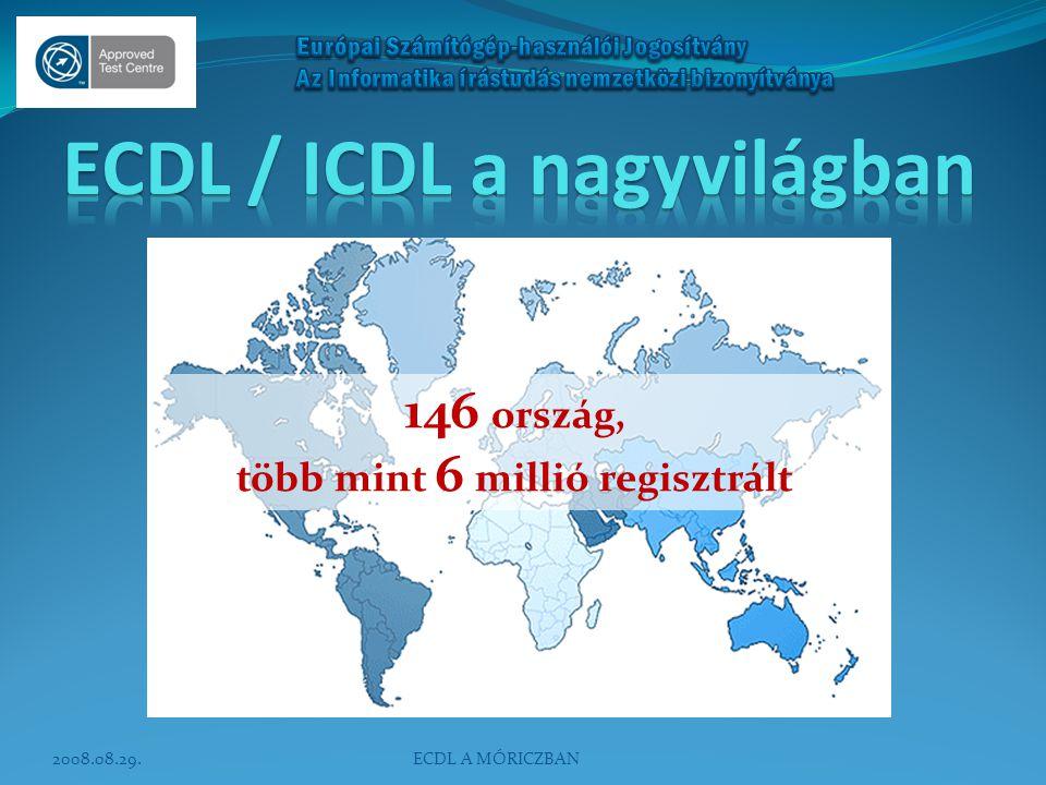 146 ország, több mint 6 millió regisztrált 2008.08.29.ECDL A MÓRICZBAN
