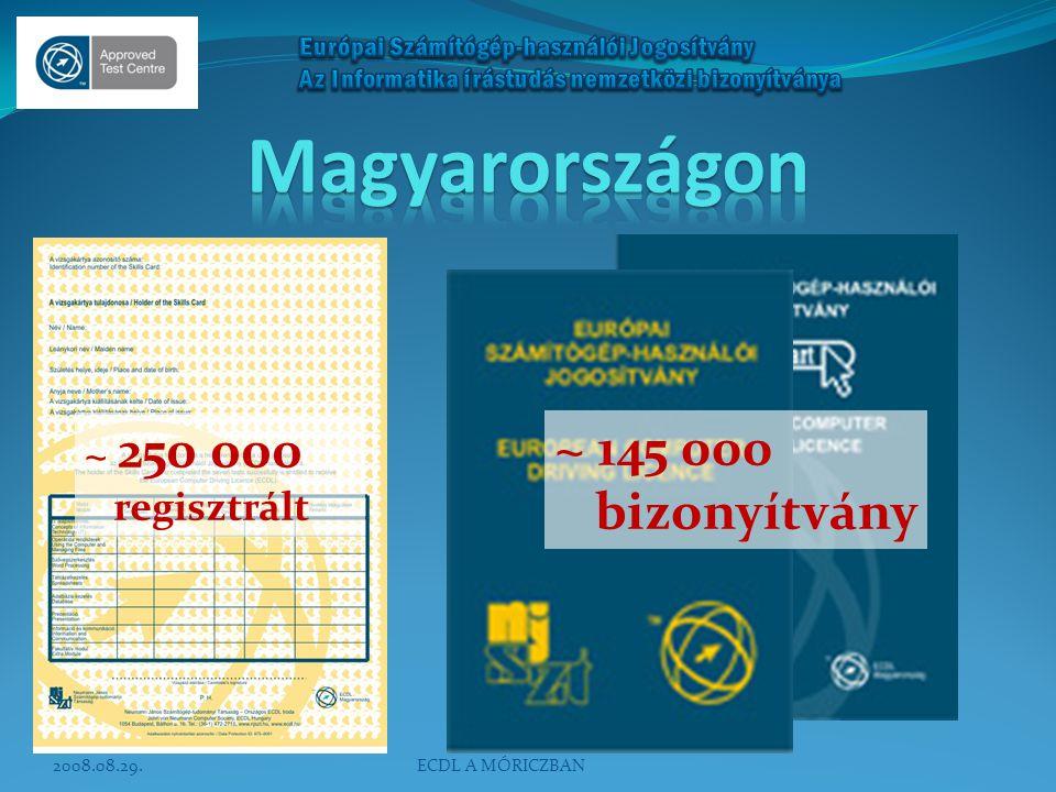 ~ 250 000 regisztrált ~ 145 000 bizonyítvány 2008.08.29.ECDL A MÓRICZBAN