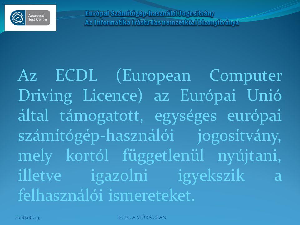 Az ECDL típusai ECDL START ECDL (7 modulos) ECDL SELECT START ECDL SELECT ECDL önálló modulvizsgák 2008.08.29.ECDL A MÓRICZBAN