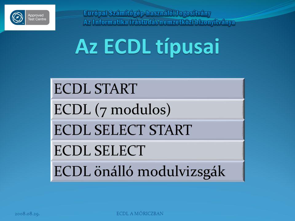 ECDL START Kötelező modulvizsgák: - Operációs rendszerek - Szövegszerkesztés - Információ és kommunikáció (INTERNET) Választható 1 az alábbiak közül: - IT-alapismeretek (ELMÉLET) - Táblázatkezelés - Adatbázis-kezelés - Prezentáció Egyszeri regisztrációs díj: 6000 Ft, nappali tagozatos diákigazolvánnyal rendelkezőknek 4500 Ft.