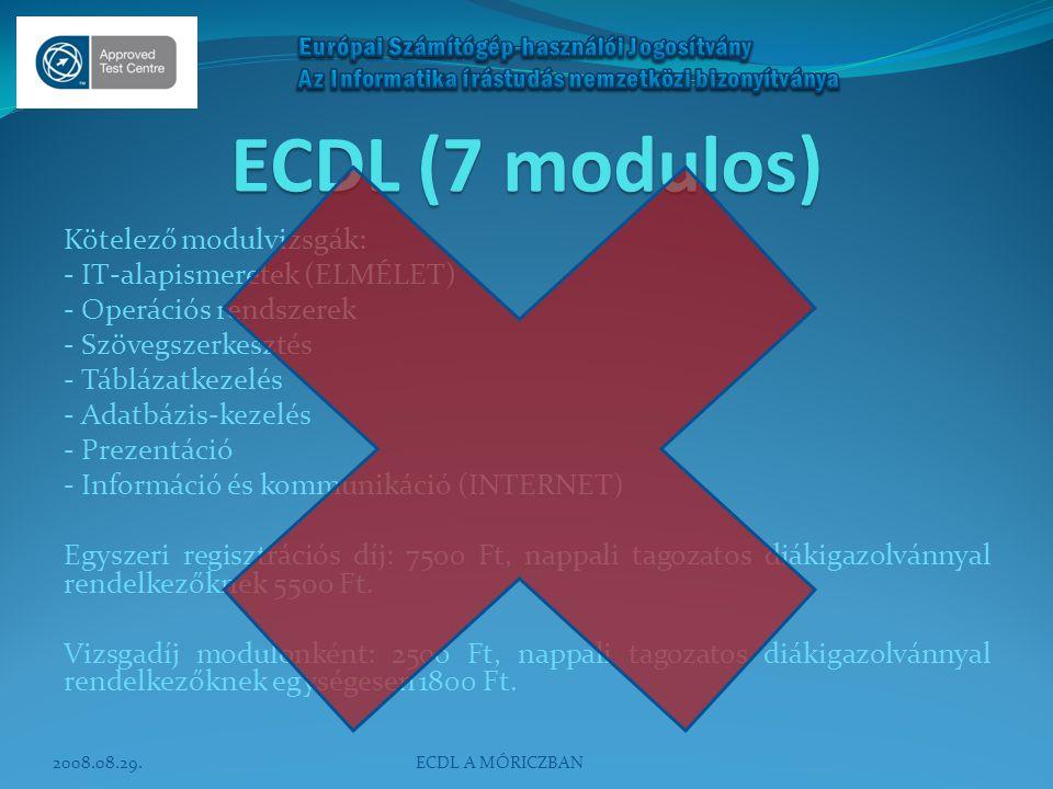 ECDL (7 modulos) Kötelező modulvizsgák: - IT-alapismeretek (ELMÉLET) - Operációs rendszerek - Szövegszerkesztés - Táblázatkezelés - Adatbázis-kezelés
