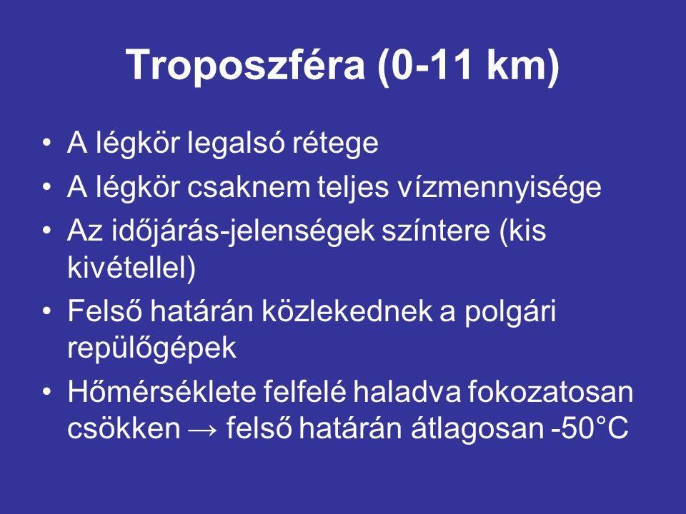 Sztratoszféra (11-50 km) •Itt található a földfelszínt védő ózonréteg (20-30 km) •Hőmérséklete az ózon hőelnyelő hatásának következtében emelkedik → felső határán a hőmérséklet hasonló a felszín átlaghőmérsékletéhez → +10°C